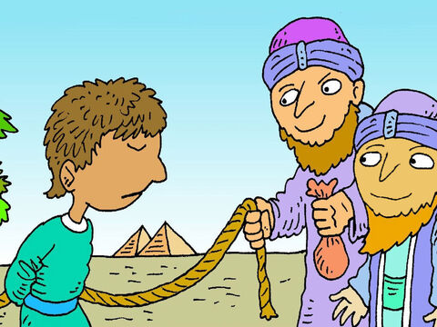 The brothers saw men coming on camels. They were traders going to Egypt. The brothers took Joseph and sold him to them. The men took Joseph away to sell as a servant who would work hard for whoever bought him. – Slide 8