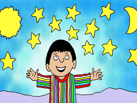 Then Joseph had another another dream about his eleven brothers which he told told his brothers and his father. 'The sun and moon and eleven stars bowed down to me,' he said. – Slide 5