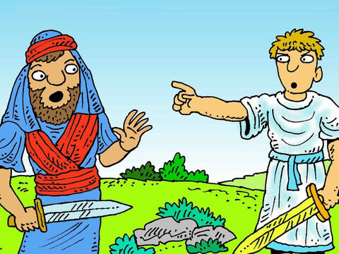Joshua was wondering how God would help him capture the great walled city of Jericho. He saw a man with a sword nearby. 'Are you friend or enemy?' Joshua asked. – Slide 2