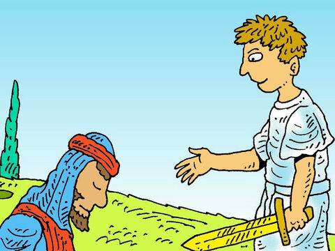 'I am God's messenger,' said the angel, 'And the Commander of God's army.' Joshua fell to his knees and said, 'Tell me what God wants me to do.' – Slide 3