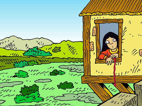 Inside the walled city of Jericho, Rahab watched and waited. Joshua had promised to save her and her family, when the city was destroyed. – Slide 5