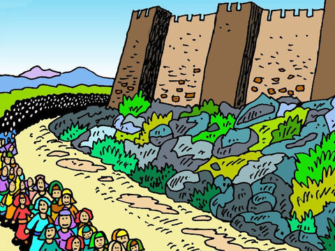 She saw the people of Israel walk right around the outside of the wall, once every day, for six days. – Slide 6