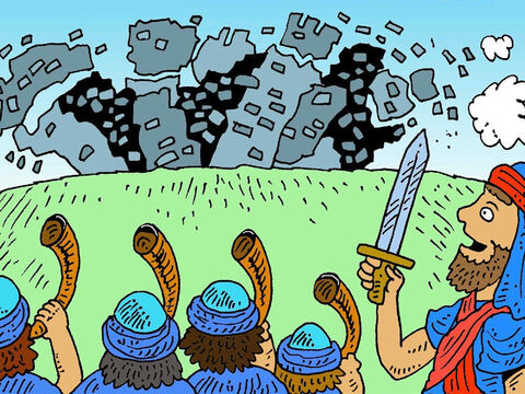 And the very last time, when they all shouted, the great stone wall of Jericho fell right down! The city was theirs, not by a strong army fighting, but by God's power. Rahab however, was kept safe and rescued. – Slide 8