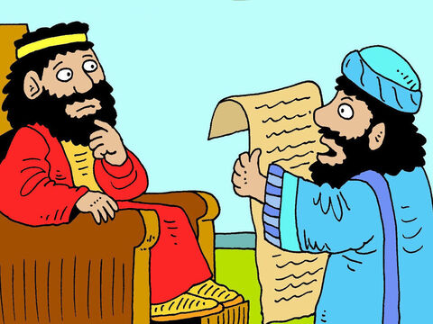Hilkanah the high priest gave the old scroll to King Josiah's servant and he read the laws of Moses and the Ten Commandments, to Josiah. – Slide 4