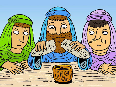 Jesus took the flat bread and broke it.  They shared it. They shared the grape juice, too. Jesus said, 'Whenever you do this, remember me.' In church we call this  'Communion'. – Slide 8