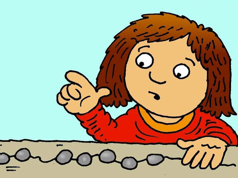She counted them carefully, '1, 2, 3, 4, 5, 6, 7, 8, 9…. Where could I have dropped my precious coin?' she wondered. – Slide 3
