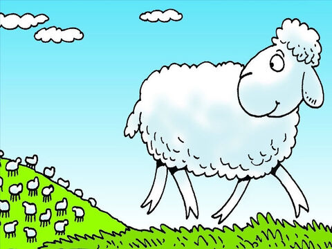 Every day the farmer took his sheep to find new grass to eat. One day, one little lamb went off all by himself. – Slide 3