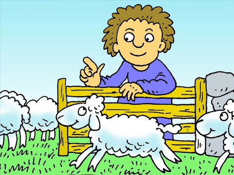 That night the shepherd counted all of his sheep. There were only ninety nine! One lamb was lost! – Slide 4