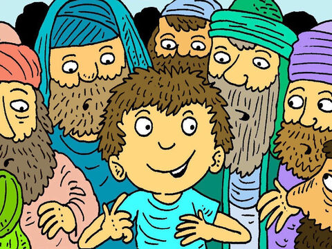 When He got to the Jerusalem, Jesus went to the Temple. He started asking questions and talking about God with the wise old teachers. – Slide 3