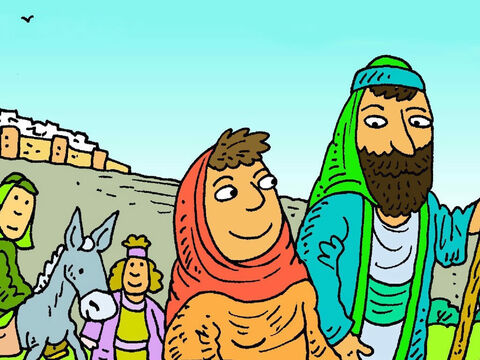 When it was time to go home, all the families went together. Joseph and Mary thought Jesus was walking with some of His friends. – Slide 5