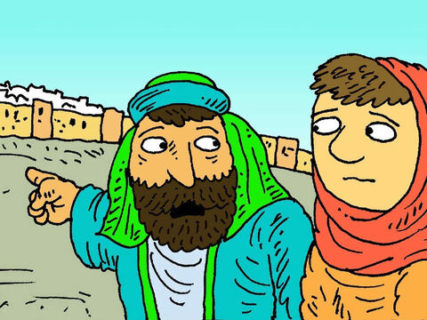After a while they went to find Jesus, but no-one had seen Him all day. 'He must have been left behind,' said Joseph and they hurried back to look for Him. – Slide 6