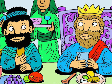 So, every day, for the rest of his life, Mephibosheth ate at the King's table, with the king's sons. King David took care of him. – Slide 7