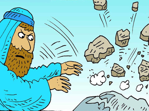 Moses saw the people praying to their idol. He broke the stones God had written on. Then everyone remembered how God had saved them and they were sorry. – Slide 4