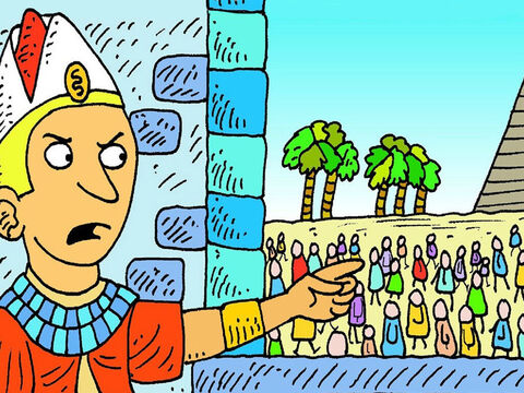 When Pharaoh saw how strong his servants, the Hebrew men had become, he made a rule to kill all the baby boys before they grew stronger than his army. – Slide 1