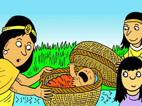 Pharaoh's daughter and her servants found the Hebrew baby and felt sorry for him, because he was hungry and crying. 'Shall I get a Hebrew mother to feed him?' asked Miriam. – Slide 6