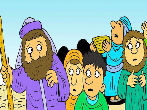 The children of Israel followed Moses into the desert, but there was nothing to eat. 'We should have stayed in Egypt,' they said. – Slide 1