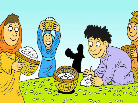 'God has sent manna for us to eat.'  They filled their baskets and took the manna home to cook. It tasted like honey biscuits. – Slide 4