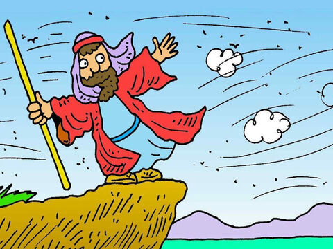 God sent a big, strong wind. It blew a path in the sea. Everyone walked safely across the dry path, to the other side. – Slide 7