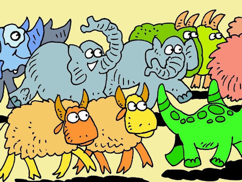 When Noah had finished, a father and mother of each animal went into Noah's Ark. What a noise! So many animals! – Slide 4