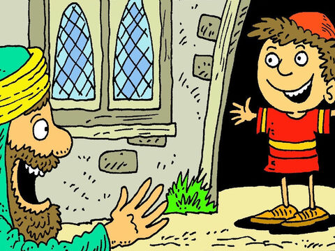 When he got to his house he saw his son waiting at the door! He was not sick any more! The man was so happy to see his boy. – Slide 6