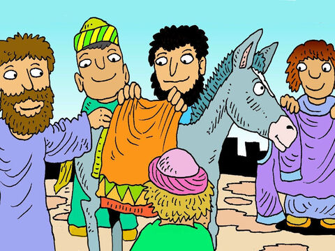 They put their coats over donkey's back, for Jesus to sit on. Jesus sat on the donkey's back. He was going to the temple in Jerusalem. – Slide 4