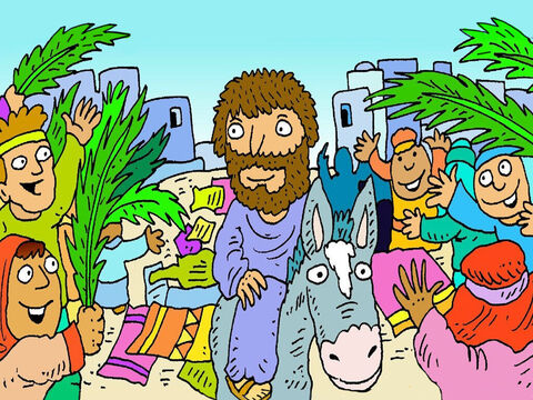 Lots of people came along the road. They were so happy to see Jesus! People put their coats on the road for the little donkey to walk on. – Slide 5