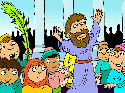 When they got there, Jesus got off the little donkey and went into the big temple to pray to God. – Slide 8
