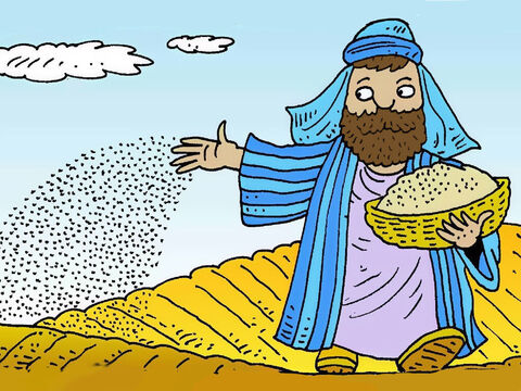 Jesus told a story about a farmer who scattered some seed in a field. He wanted the seed to grow well so he would get a big harvest. – Slide 2