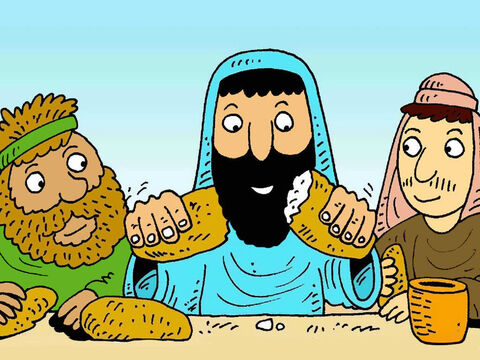 Since that time, God's people celebrate the feast of the Passover and thank Him for saving them. Jesus did this too, with his friends. – Slide 8