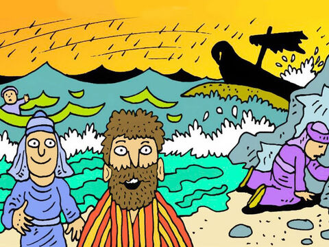 Swimming or floating on boards, everyone of them got safely to the beach, just as God had told Paul. All 276 of them were saved that day! – Slide 7