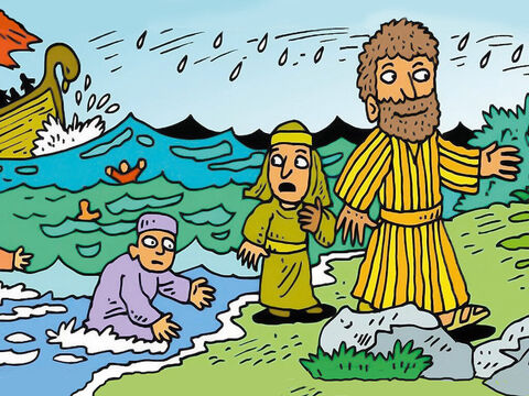 The boat taking the prisoner, Paul, to Rome was shipwrecked. Everyone got safely to shore through the stormy seas and heavy rain. – Slide 1