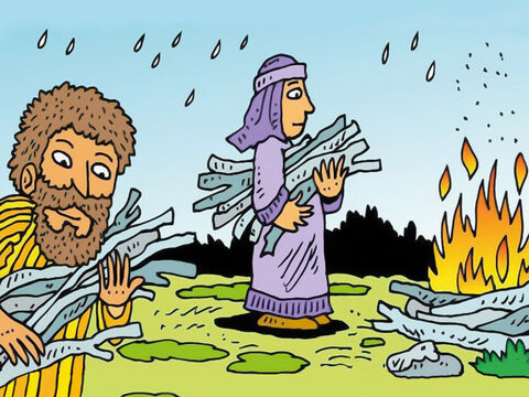 They found wood to make a fire to warm and dry themselves. Paul helped gather sticks too, in the pouring rain. – Slide 2