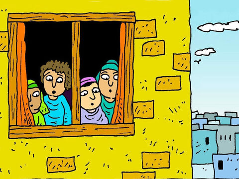After Jesus had gone up into heaven, some of His friends met together in an upstairs room of a house in Jerusalem and waited just as Jesus had said to do. – Slide 1