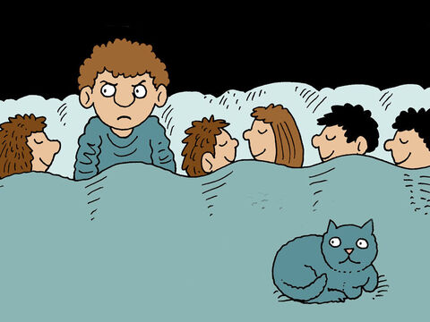 His friend woke up when he heard the man shouting out for bread. 'Go away,' he called back, 'the house is locked and we are all in bed. Come back tomorrow.' – Slide 4