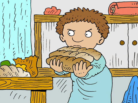 Eventually the man in the house could take no more. He got out of bed and went to the kitchen to give his friend the bread he needed. – Slide 6