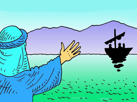 Peter saw lots of people on the beach with Jesus. They wanted Jesus to tell them a story. 'Can I use your boat?' Jesus asked Peter. He wanted the boat, so everyone could see Him. – Slide 4