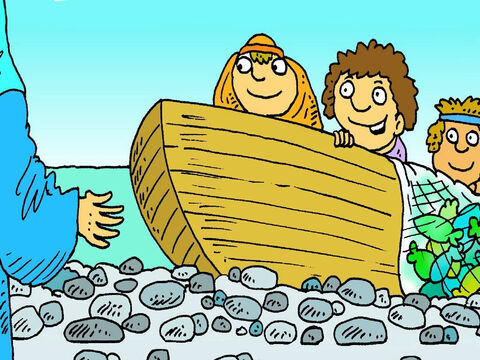 The net was so full of fish he needed help. It was a miracle! Jesus said, 'Follow me. I will show you something better than fishing! You can tell people about God's love.' – Slide 7