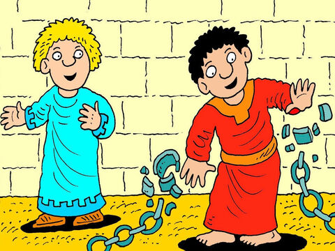 Peter did what the angel said. As he stood up, the strong iron chains that Herod's soldiers had locked him up with fell off his hands and he was free! – Slide 6