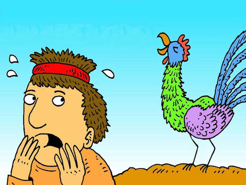 Peter remembered how Jesus had said, 'Tonight, before the rooster crows, you will tell people that you don't even know me, three times!' Peter went away and cried as knew he had let Jesus down. – Slide 7