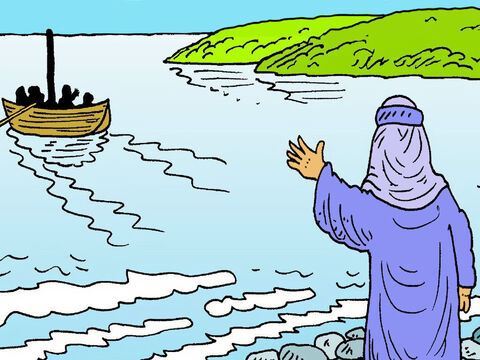 Jesus sent His helpers and Peter across to the other side of the lake, in a boat. He was tired. He wanted to be by himself to rest and pray. He had been talking to lots of people, all day. – Slide 1
