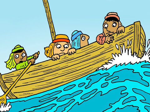Soon, the wind began to blow and the waves got bigger and bigger! Peter and his friends were getting scared. 'If only Jesus was here,' they said. – Slide 2