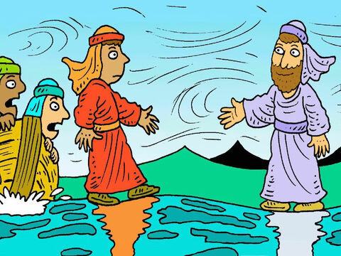 Jesus called out, 'Don't be scared, it is only me.' Peter couldn't believe his eyes and said, 'If it really is you, Jesus, then tell me to come to you on the water.' He got out of the boat and began to walk, on the water, to Jesus. – Slide 4