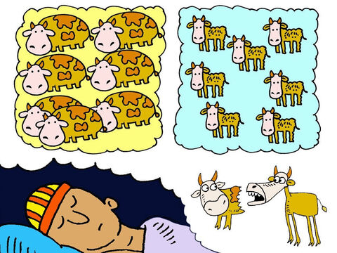 One night Pharaoh had a dream. He saw seven fat cows and seven thin cows. The thin cows ate up the fat cows, but the thin cows still looked hungry. – Slide 2