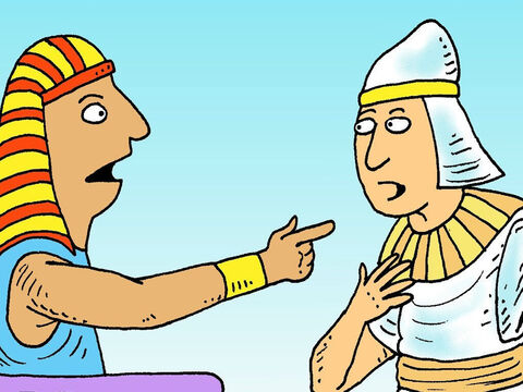 Then Pharaoh's best servant told him about a prisoner called Joseph, who could understand the meaning of dreams. 'Send for him at once,' commanded Pharaoh. – Slide 5