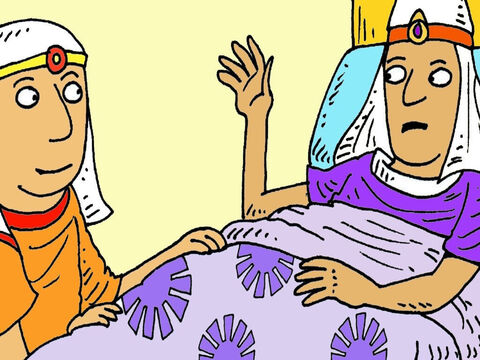 'God said there will be a great harvest for seven years, then seven years of famine. <br/>Put a good man in charge of storing extra food, before the famine comes,' Joseph told Pharaoh. – Slide 7