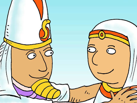 'There is no one better than you,' said Pharaoh. 'You will be in charge of storing the food, so that no one ever goes hungry.' Joseph became the most important man in Egypt. – Slide 8