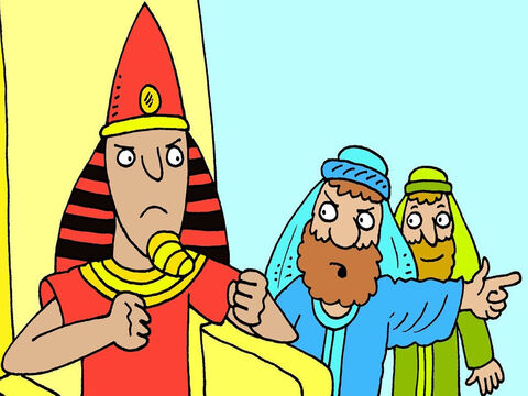 God sent Moses and Aaron to tell Pharaoh to let His people go home. 'If you refuse,' Aaron said, 'God will sent terrible plagues until you do.' But Pharaoh was stubborn and would not listen. – Slide 3
