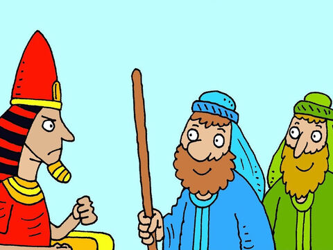 'You can go a little way into the countryside to worship God, only if you ask Him to take the flies away,' Pharaoh promised. But when the flies went he changed his mind again. – Slide 8