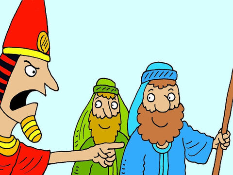 After God sent the tenth and most awful plague and all the eldest boys in every Egyptian family died, Pharaoh finally changed his mind. He told Moses, Aaron and the Israelites to go! – Slide 7