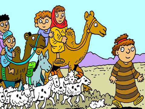 Jacob put his wives and children on the camels and they all left without saying goodbye. Laban was busy shearing sheep and didn't miss them for three days. – Slide 3